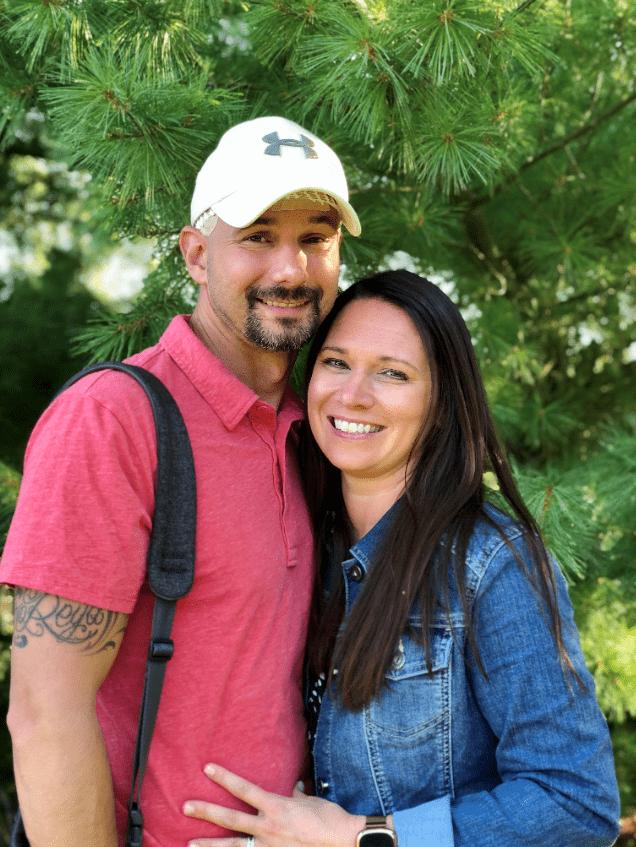 Brain tumor survivor with Optune treatment and caregiver, wife, Amanda